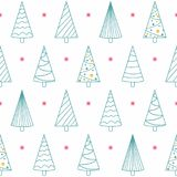 Seamless pattern with Christmas trees and stars. Seamless pattern with Christmas trees and red stars. Winter Holidays decoration Royalty Free Stock Images