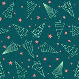 Seamless pattern with Christmas trees and stars. Seamless pattern with Christmas trees and red stars. Winter Holidays decoration Royalty Free Stock Photography