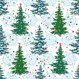 Seamless pattern, Christmas trees and snowflakes Royalty Free Stock Photography