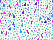Seamless pattern with Christmas trees and snowflakes. Christmas pattern.. Rocket fireworks. Vector illustration Royalty Free Stock Photography