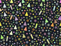 Seamless pattern with Christmas trees and snowflakes. Christmas pattern. Rocket fireworks. Vector illustration Royalty Free Stock Photography
