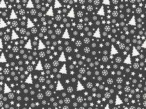 Seamless pattern with Christmas trees and snowflakes. Christmas pattern. Vector Stock Photos