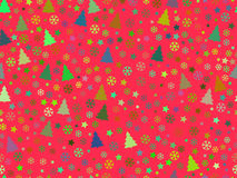 Seamless pattern with Christmas trees and snowflakes. Christmas pattern. Vector Royalty Free Stock Photography