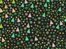 Seamless pattern with Christmas trees and snowflakes. Christmas pattern. Vector Stock Images