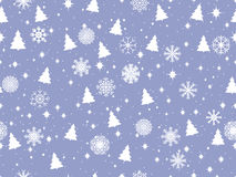 Seamless pattern with Christmas trees and snowflakes. Christmas pattern. Vector Stock Photo