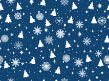 Seamless pattern with Christmas trees and snowflakes. Christmas pattern. Vector Royalty Free Stock Images