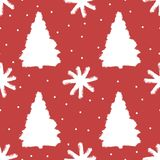 Seamless pattern with Christmas trees and snowflakes. Grunge, sketch, watercolour. Royalty Free Stock Photography