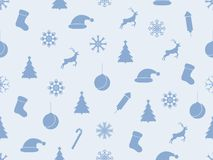 Seamless pattern with Christmas trees and snowflakes. Winter background. Vector. Illustration Stock Images
