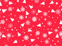 Seamless pattern with Christmas trees and snowflakes. Winter pattern. Vector Stock Photos