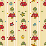 Seamless pattern with Christmas trees and stars Royalty Free Stock Photography