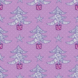 Seamless pattern with christmas trees and stars. Vector illustration Stock Images