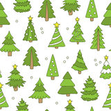 Seamless pattern of Christmas trees. Seamless vector pattern of Christmas trees on a white background, hand-drawn Stock Images