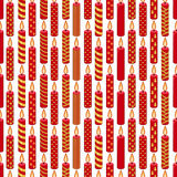 Seamless pattern with  Christmas wax candles on white. Simple festive colors. Royalty Free Stock Photography