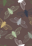 Seamless Pattern with Cicadas Stock Images