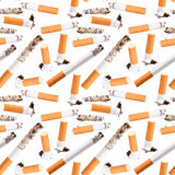 Seamless pattern of cigarette butt Stock Photos