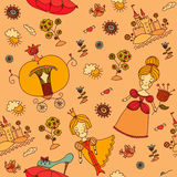 Seamless pattern. Cinderella. Colorful seamless pattern for children. Cinderella Stock Photo