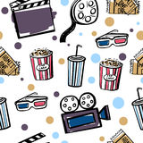 Seamless pattern with cinema doodle objects. Vector seamless pattern Cinema. Hand drawn colorful doodles on white background Stock Images