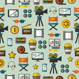 Seamless pattern with cinema equipment Stock Images