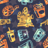 Seamless pattern with cinema icons. Vector illustration Stock Images