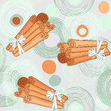 Seamless pattern with cinnamon sticks Royalty Free Stock Images