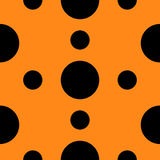 Seamless Pattern with circle Black polka dots Geometric abstract texture. Orange background. Flat design. Royalty Free Stock Photos