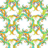 Seamless pattern with circle Caribbean fun dancing pair of parro Royalty Free Stock Photos