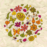 Seamless pattern of circle made of flowers and insects Stock Photos