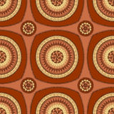 Seamless pattern with circle ornament  in brown Stock Photo