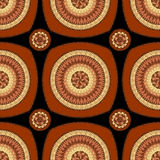 Seamless pattern with circle ornament  in brown Royalty Free Stock Images