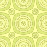 Seamless pattern with circle ornament  in green Stock Photo
