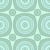 Seamless pattern with circle ornament  in marine blue Stock Images