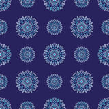 Seamless pattern with circle ornament snowflakes Stock Photos