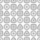 Seamless pattern with circle triangle square in grey Royalty Free Stock Photo
