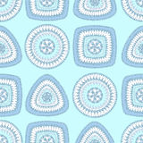 Seamless pattern with circle triangle square in light blue Royalty Free Stock Images