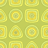 Seamless pattern with circle triangle square in light green Royalty Free Stock Photography