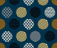 Seamless pattern with circle of zigzag lines, gold, blue and black color on dark blue background. Artwork and wallpaper Stock Image