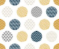 Seamless pattern with circle of zigzag lines, gold, blue and black color on white background. For artwork or wallpaper Stock Photos