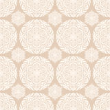 Seamless pattern with circles. Beige seamless pattern with white circles and flowers on a beige background Royalty Free Stock Images