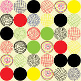 Seamless pattern of circles of different colors and shapes. Stock Images
