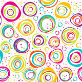 Seamless pattern with circles and dots on white background. Seamless pattern with multicolored circles and dots on white background Vector Illustration