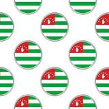 Seamless pattern from the circles with flag of Abkhazia. Vector illustration Royalty Free Stock Photo