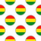 Seamless pattern from the circles with flag of Bolivia. Vector illustration Royalty Free Stock Photos