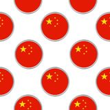 Seamless pattern from the circles with flag of China. Royalty Free Stock Photo