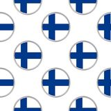 Seamless pattern from circles with flag of Finland. Vector illustration Royalty Free Stock Photography