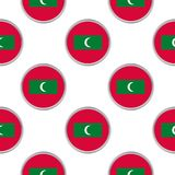 Seamless pattern from the circles with flag of Maldives. Vector illustration Royalty Free Stock Images