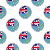 Seamless pattern from the circles with flag of Tuvalu. Vector illustration Stock Image
