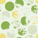 Seamless pattern with circles. Forms printed in ink. Green, gray, white, yellow color. Hand drawn. Vector illustration Stock Image