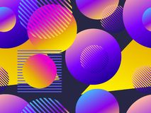 Seamless pattern with circles. Futurism retro background in style 1980s. Retrowave. Vector. Illustration royalty free illustration