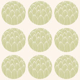 Seamless pattern with circles and hand drawn cactus pattern Stock Photography