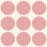 Seamless pattern with circles and hand drawn chevron pattern Royalty Free Stock Photo